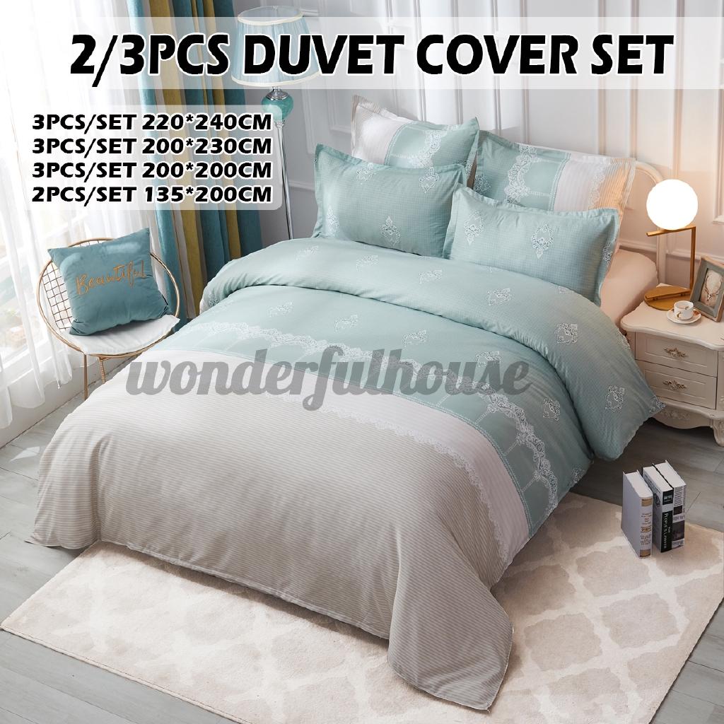 Printed Duvet Cover Pillow Shams Set Europe Style Duvet Quilt Cover Bedding Set Pillowcase Single Double Full Queen King Comforter Covers Sets Green Shopee Singapore