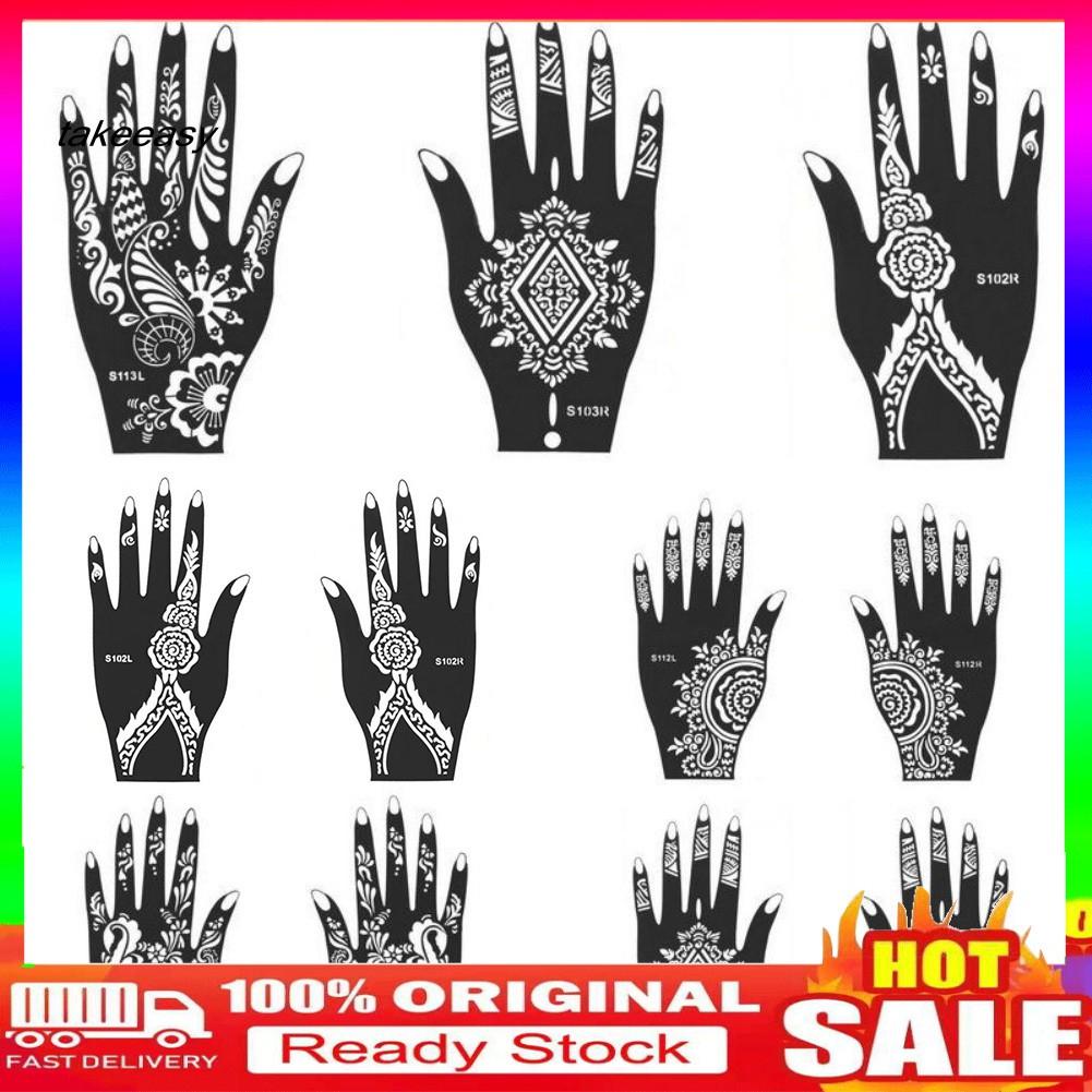 Hy Ws India Henna Temporary Tattoo Stencil Kit Man Women Hand Body Art Decal Decor Shopee Singapore