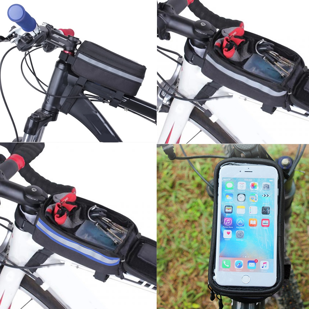 PROMEND Bicycle Handlebar Bag Mobile Phone Rainproof Touch Screen Bag W// Mount