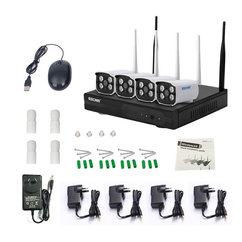 📷Digoo ESCAM WNK403 4CH WiFi NVR Kit P2P 720P Access Point IP Camera