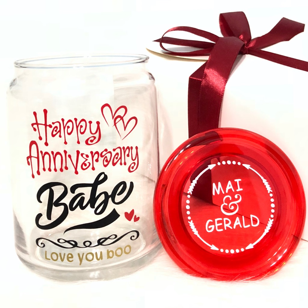 """in a GIFT BOX-NEW /""""Happy Anniversary/"""" Gift-Decorative Glass Block with Heart"""