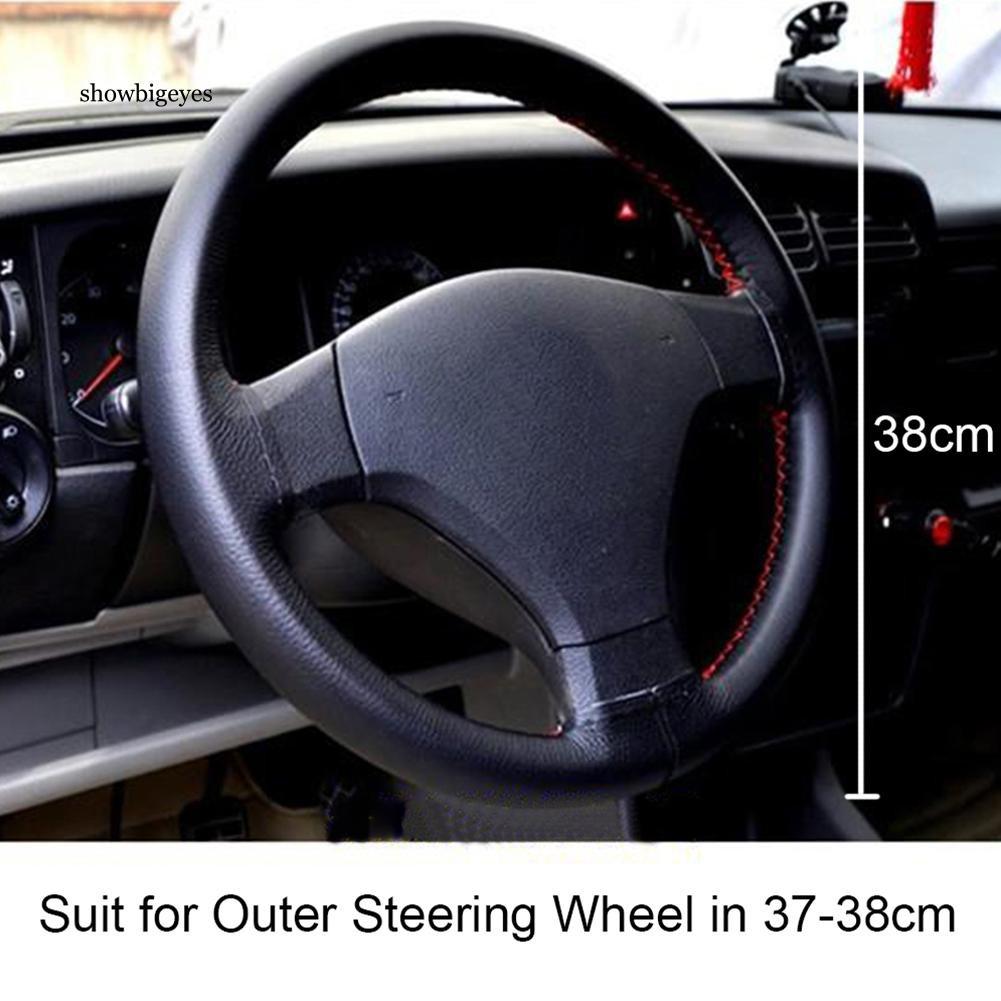Honda Jazz Black /& Beige Genuine Leather Steering Wheel Cover Glove 37cm