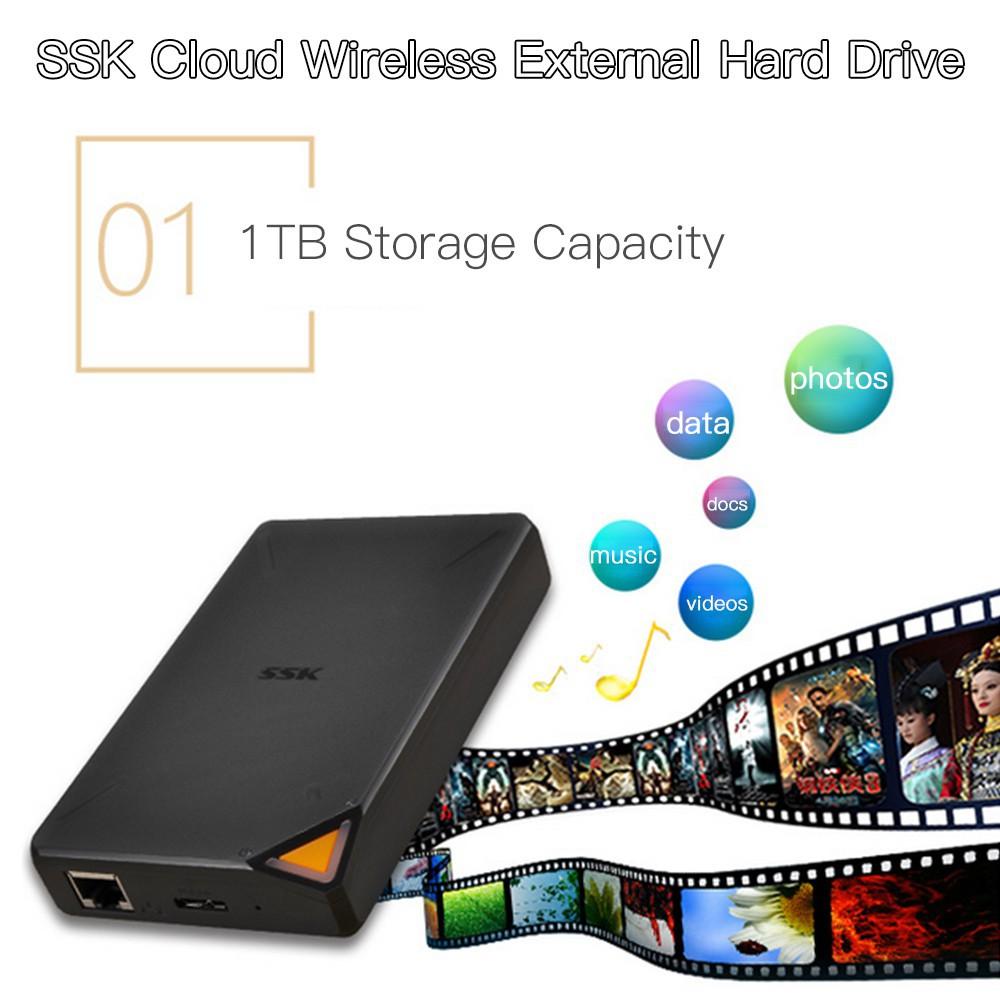 """SSK F200 Wireless WiFi External Hard Drive 1TB 2.5/"""" Cloud Network Storage USB3.0"""