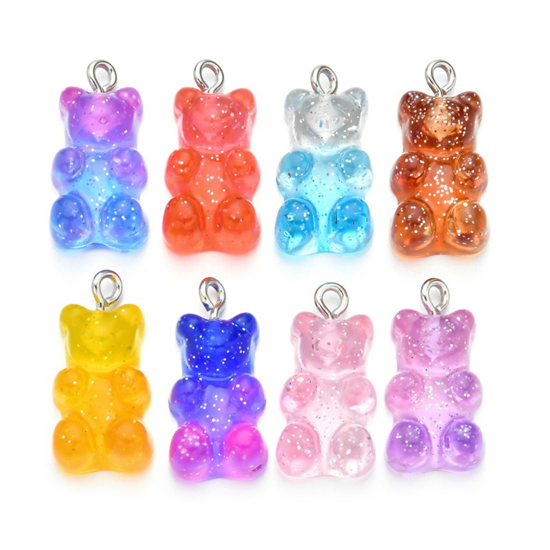 10pcs Mix Heart Charms Resin Candy Transparent Color Pendant DIY Jewelry Making