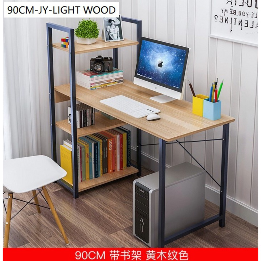 H Design Computer Study Table With Bookshelves