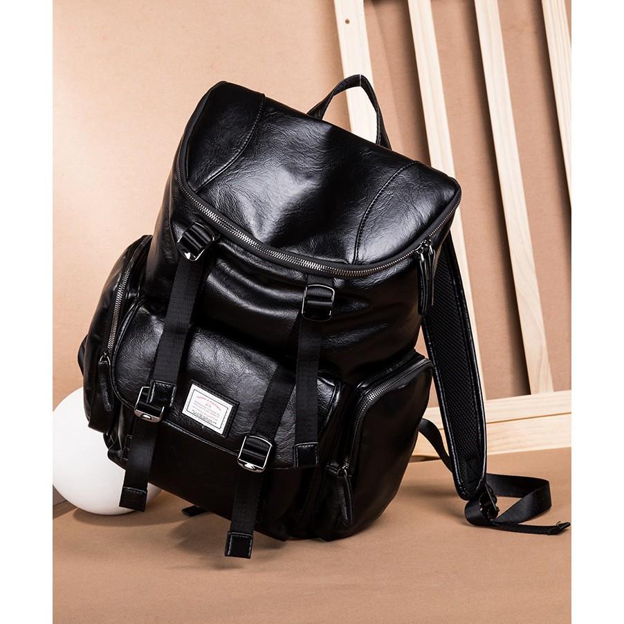 1b1cb21b4891 Leisurely Travel Bag Korean Style Men Bagpack Leather Man Laptop Backpack