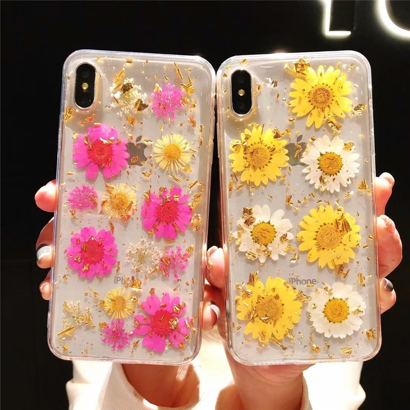 iPhone 6 6S 7 8 plus X XR XS Max Case Real Dried Flowers Gold Foil Soft  Transparent Phone Cover