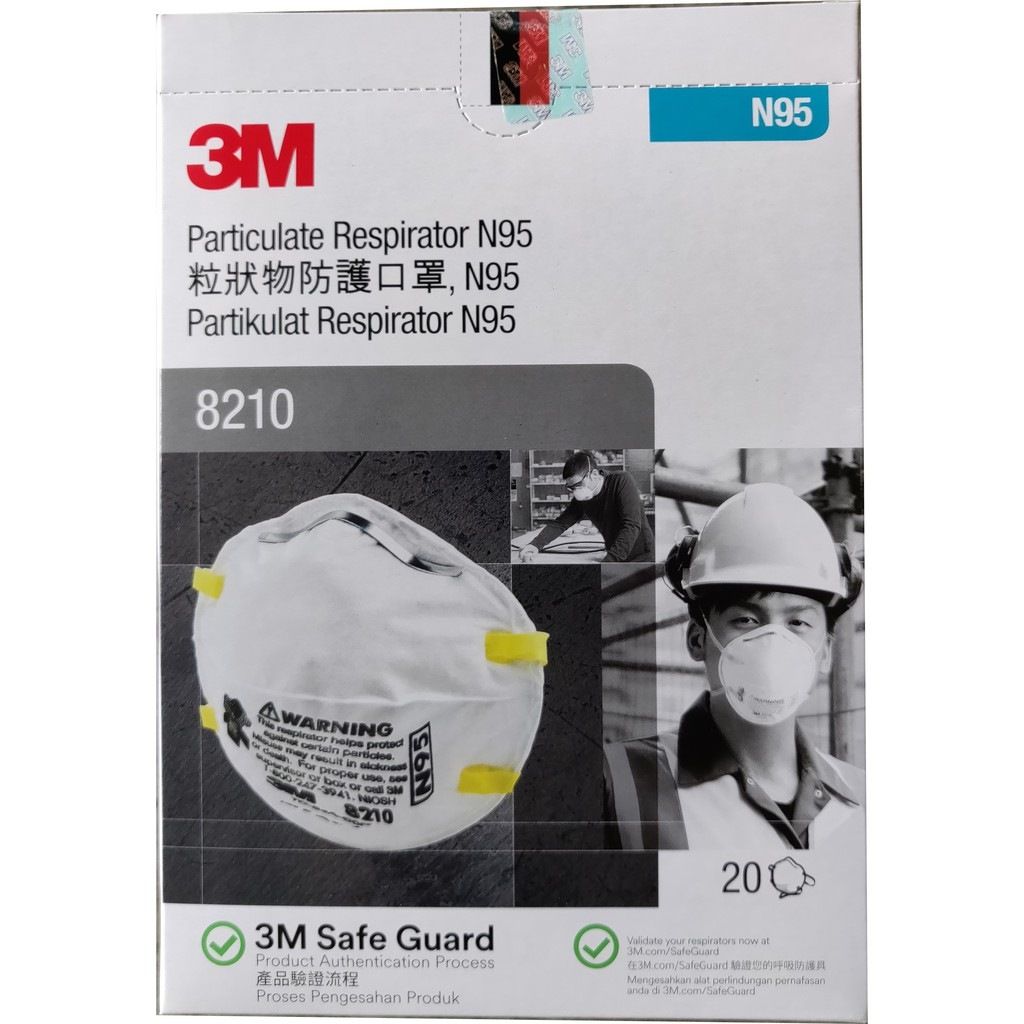 3m Mask Particulate Respirator 20pcs box 8210 N95