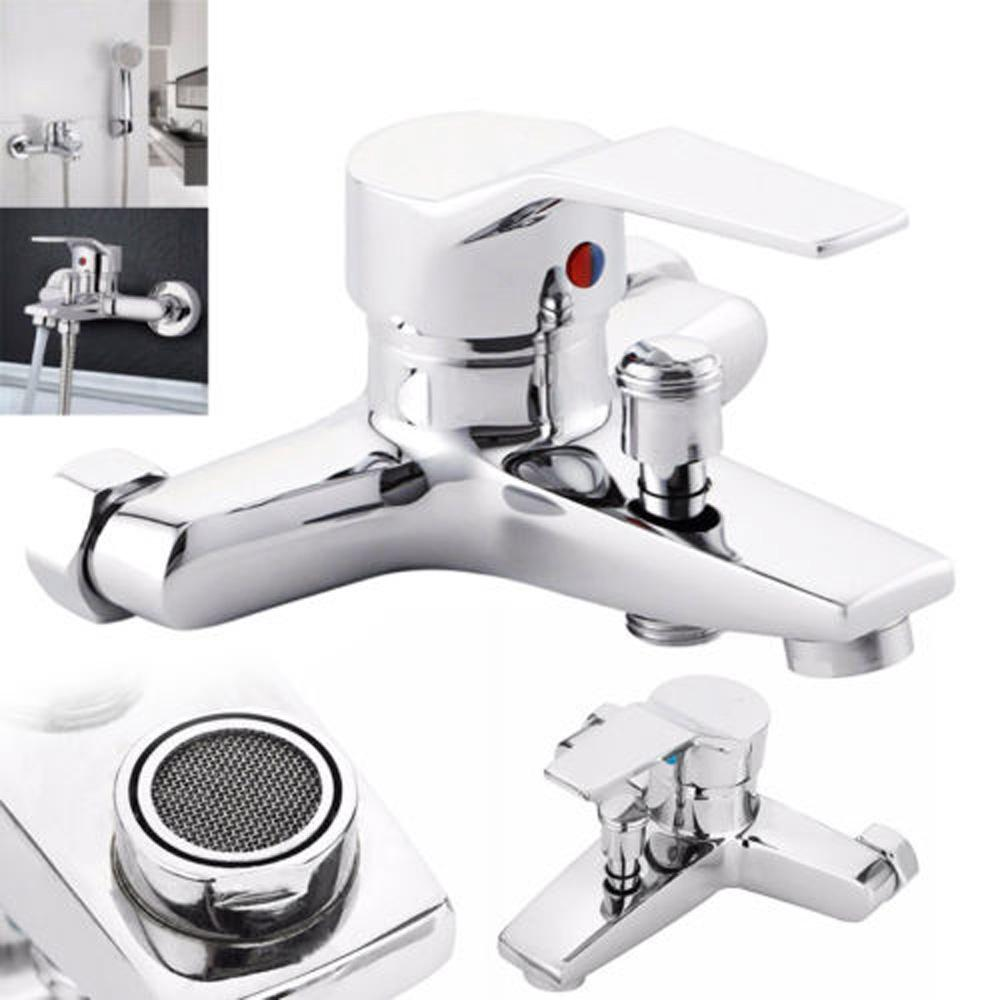 Fairypocket Tub Shower Faucet Wall Mount Shower Head Valve Mixer Tap