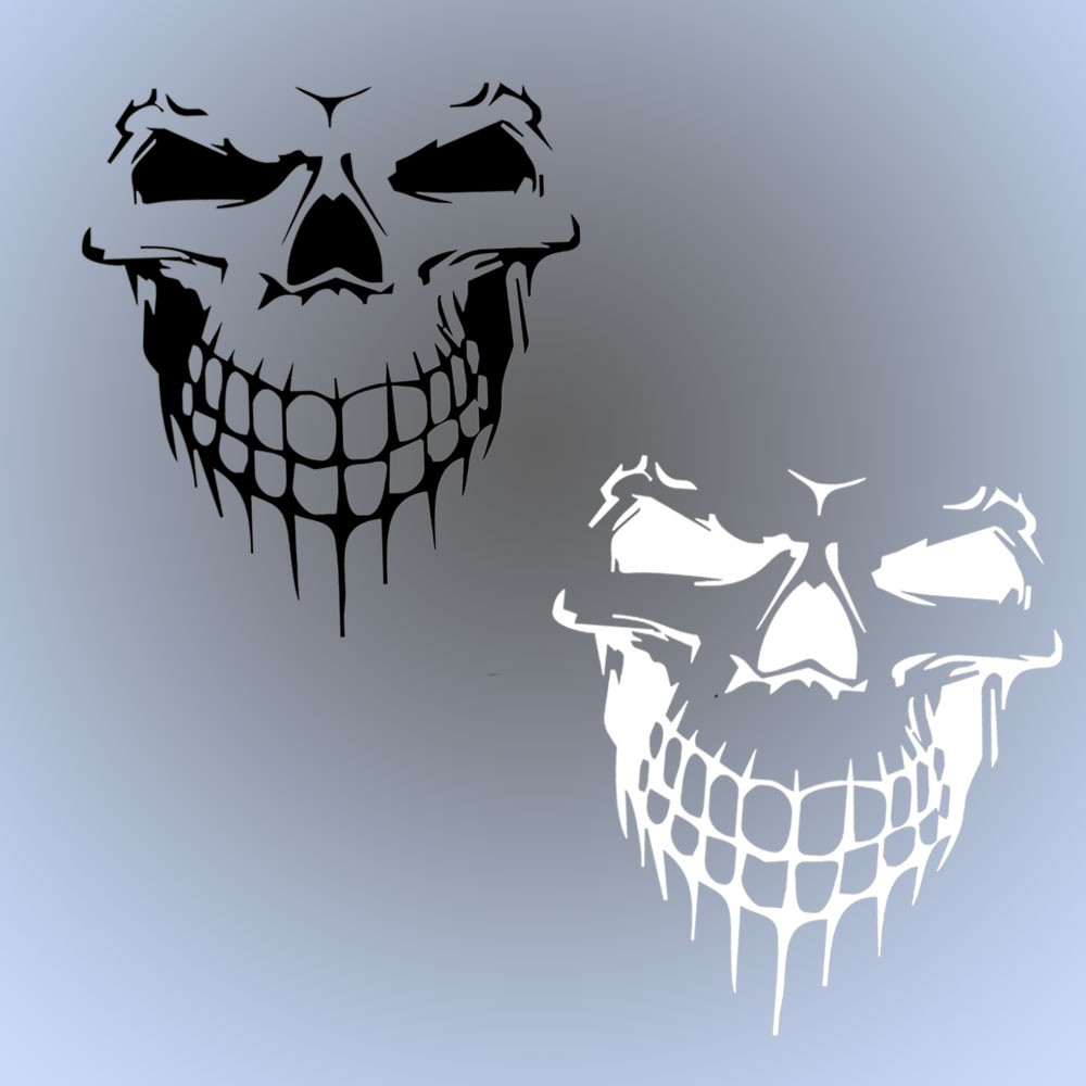 Black silver Skull Hood Decal PET large Graphic sticker Car