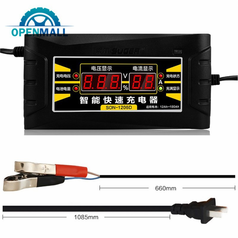 Hot 12V//6A Smart Fast Lead-acid Battery Charger for Car Motorcycle LCD US//EU