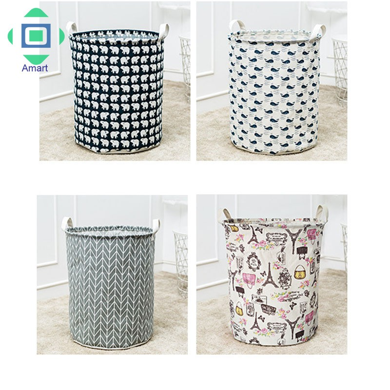 Clothes Storage Bag with Handle Waterproof Cotton Clothing Storage Basket Large