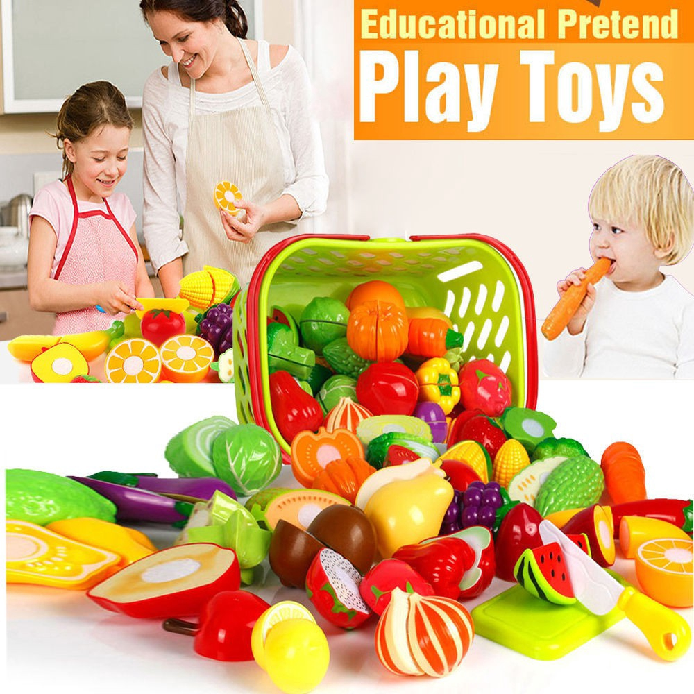 4-24PCS Pretend Role Play Kitchen Fruit Vegetable Food Toy Cutting Set Kids NEW