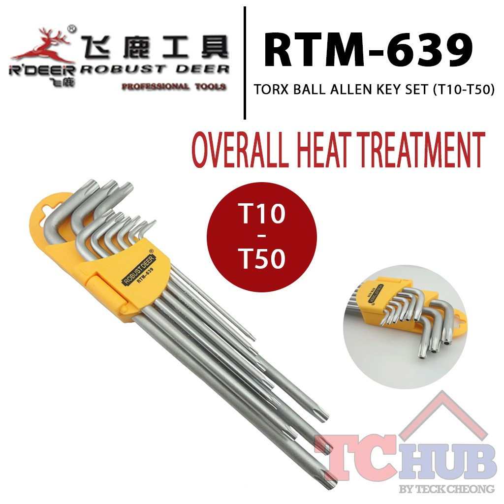 [Robust Deer] RTM-639 Torx Ball Allen Key Set (T10-T50)