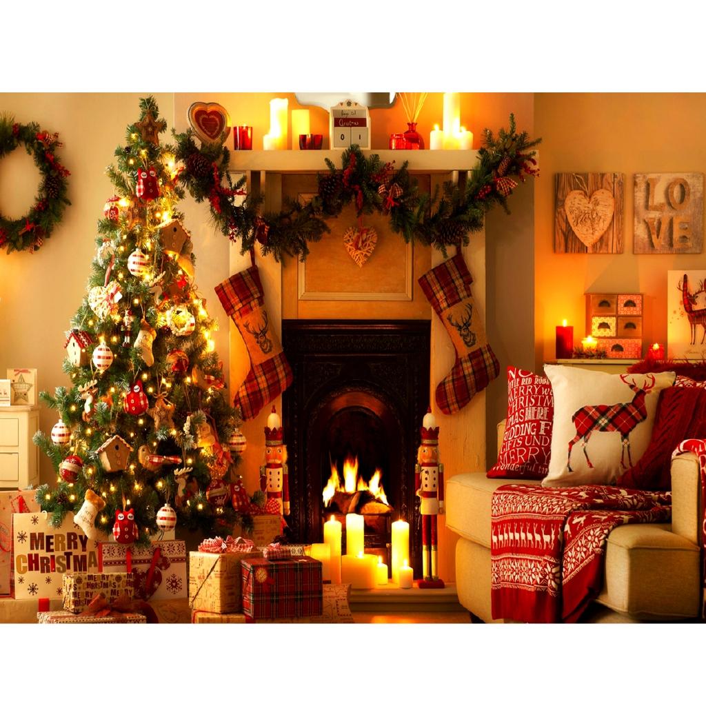 7x5ft Photo Backdrops Christmas Tree Fireplace Stocking