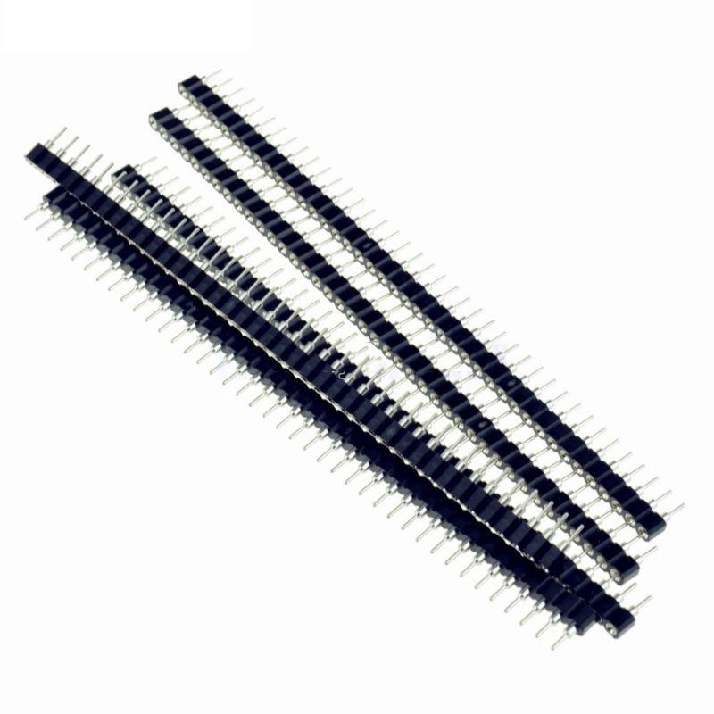 10 Pcs Set 40-Pin 2.54mm Single Row Round Female Pin Header Socket Gold Plated
