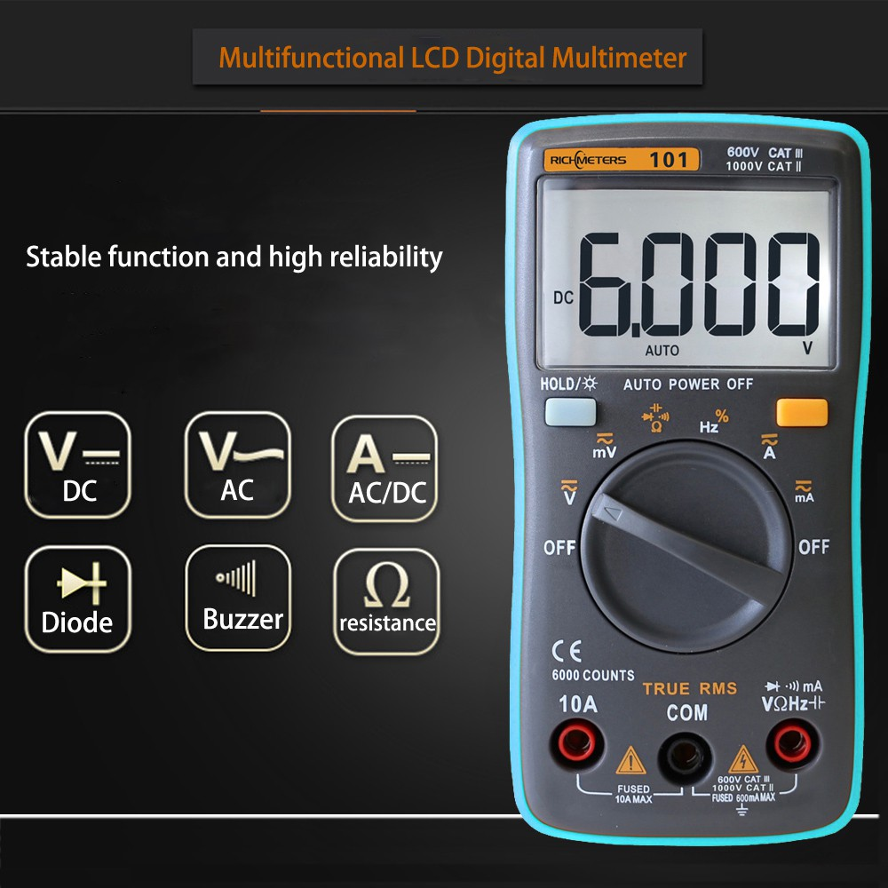 Rm101 Lcd Digital Meter Multimeter Voltmeter Ammeter Ac Dc Ohmmeter A830l Ohm Circuit Volt Tester Hgnco Shopee Singapore