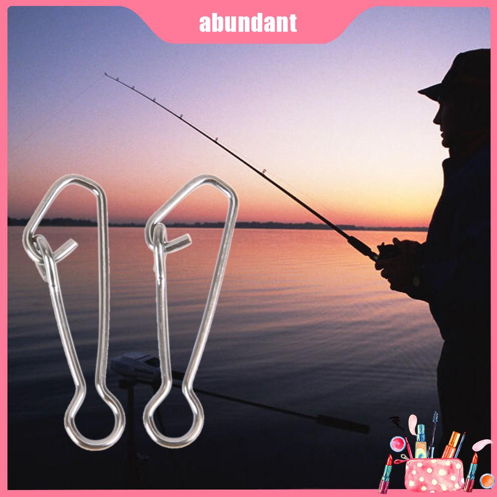 100pcs Stainless Steel Fishing Swivel Hooked Snap Fishing Hook Line Connect