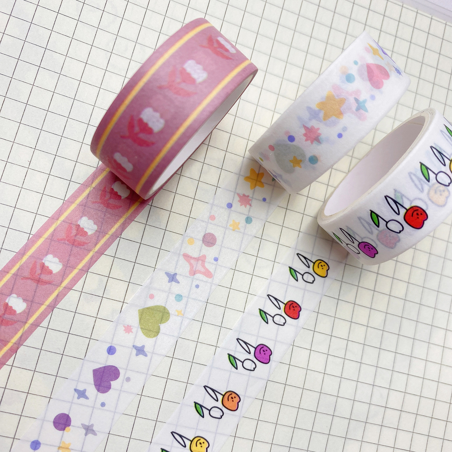 Steve 3m Korean Aesthetic Cute Bear Tulip Washi Tape Student Cartoon DIY Scrapbook Planner Bujo Decorative Materials Sticker