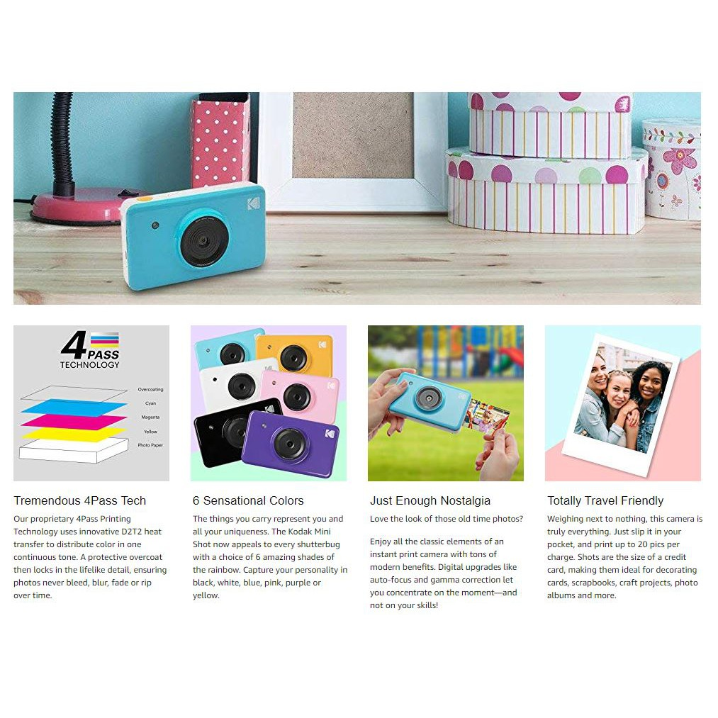 KODAK MS-210 Mini Shot Photo Printer Instant Wireless Camera