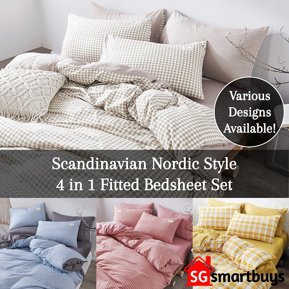 ☆ NO.1 LOCAL SELLER ☆ 800TC NORDIC STYLE COTTON QUILT COVER FITTED BEDSHEET  SET☆   Shopee Singapore