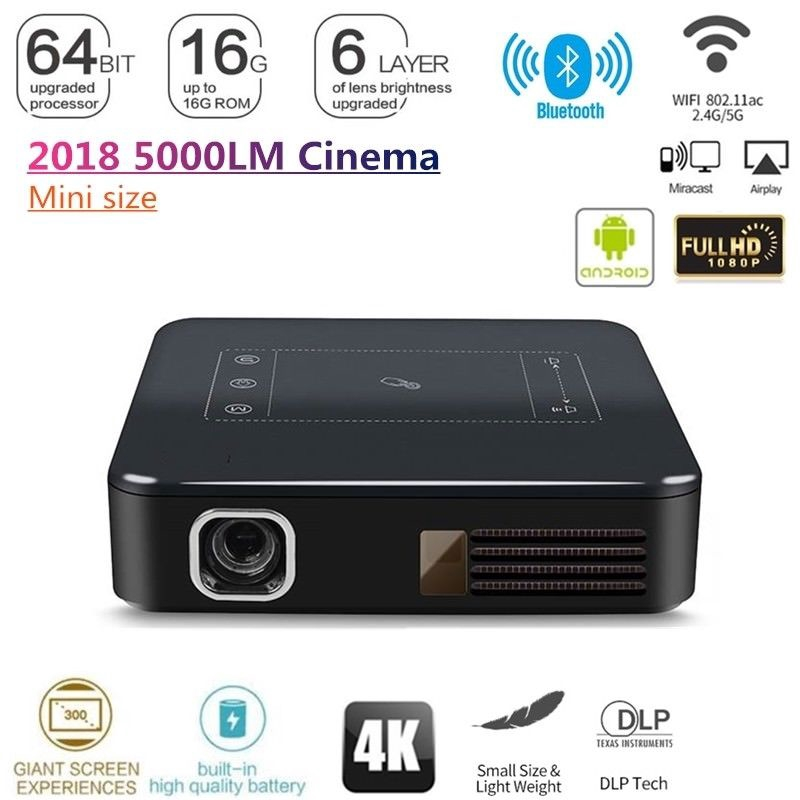 b163f116a766f0 C9 DLP Android 7.1 RK3328 Mini Pocket Projector 4K Android 2G/16G 2.4G/5G  WiFi | Shopee Singapore