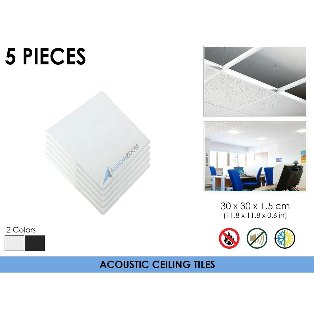 Arrowzoom 5 Pcs Fiberglass Insulation Sound Absorption Acoustic Ceiling Tiles Thermal Solution Suspended Drop Kk1174
