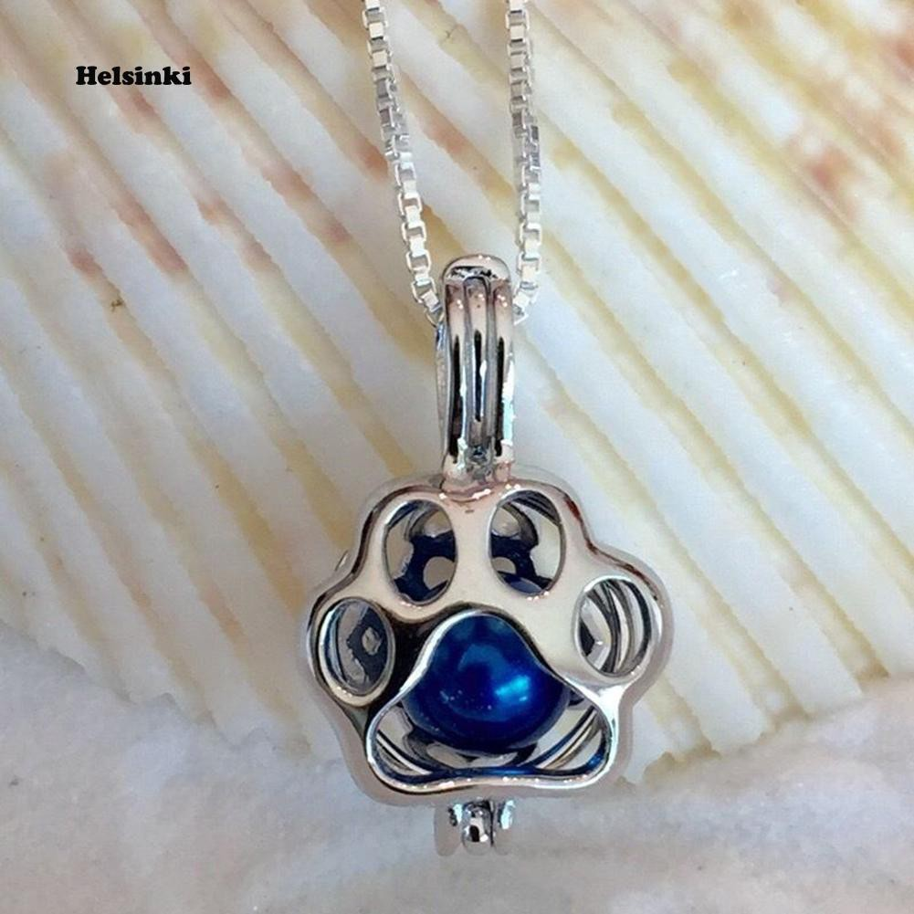 925 Sterling Silver LOVE Animal Paw Pearl Cage Pendant /& Necklace
