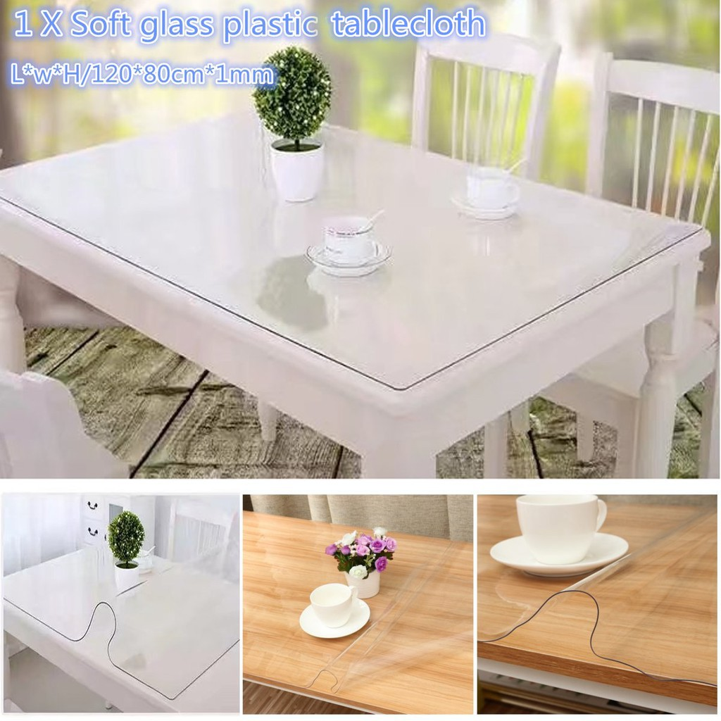 Good 120x80cm Wipe Clear Tablecloth Mat Pvc Glass Effect Table