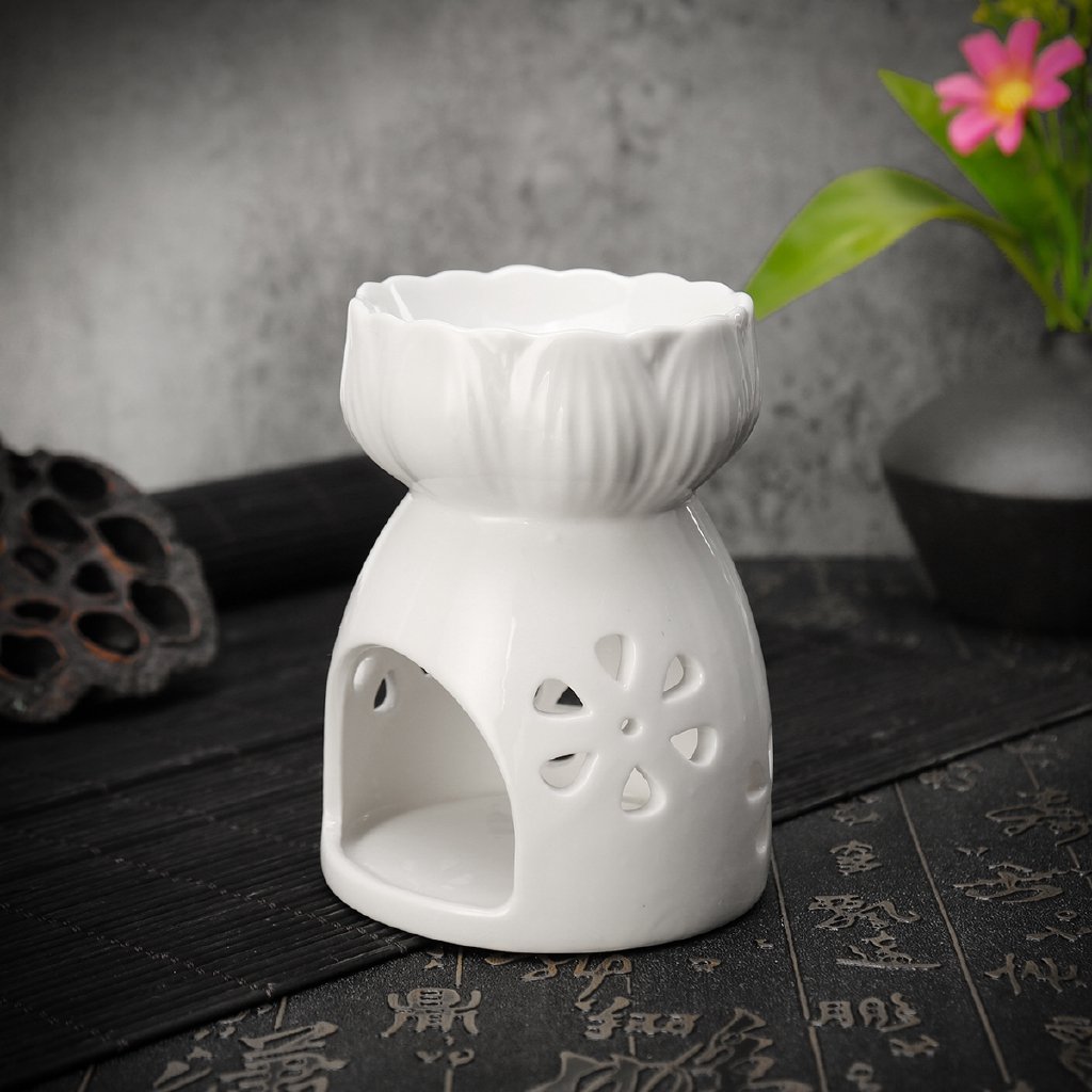 Tea Light Holders Home Kitchen Home Smile Ceramic Lotus Tea Light Candle Holder With Candle Spoon Essential Oil Burner