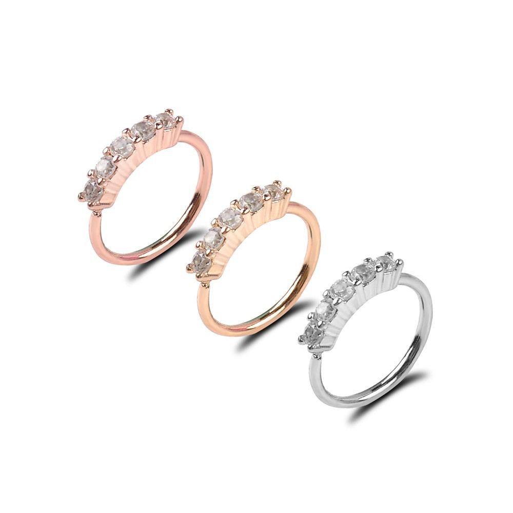 Cool 18g Nose Ring Ear Hoop Tragus Helix Cartilage Earring Crystal Stainless