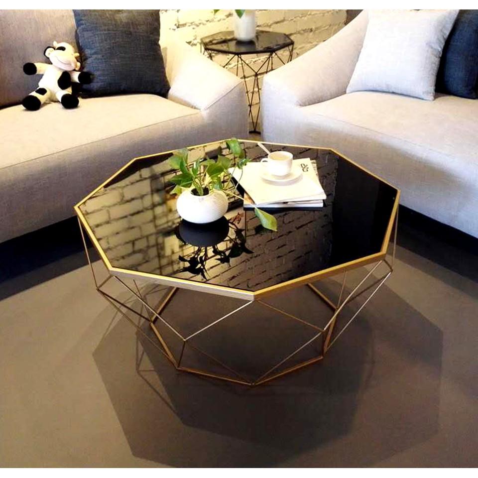 Nordic Geometric Design Coffee Tea Table Black Tempered Glass Modern Living Room Furniture Shopee Singapore [ 960 x 960 Pixel ]