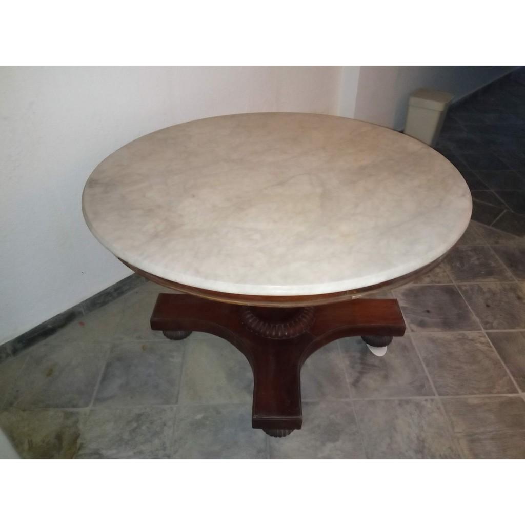 Marble Top Teakwood Dining Table