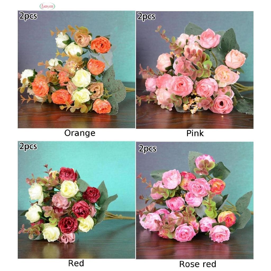Artificial Flowers Decoration Fake Flower Bookstore Cafe Store 2pcs 21heads Silk Rose Bouquet Buch Wedding Home Shopee Singapore