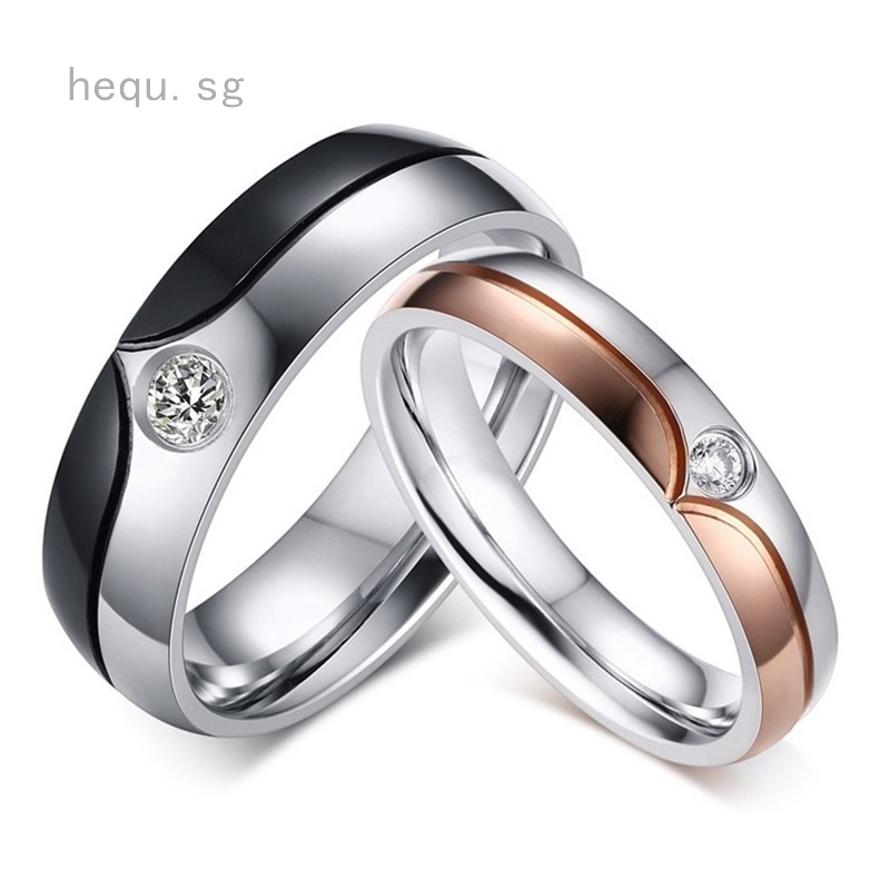 729a9f9b47ee6 Couple rings Lover Rhinestone Titanium Steel Engagement Ring Size 5-12
