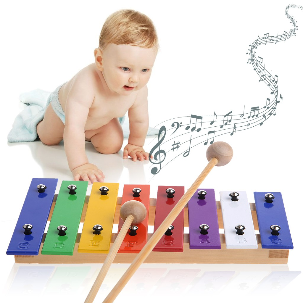 8 Notes Wooden Kids Metal Xylophone Glockenspiel Musical Instrument Music Toys