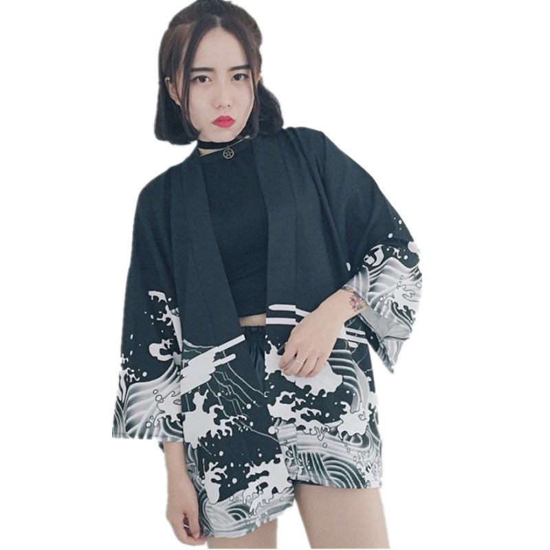 Fashion Women Vintage Waves Printed Chiffon Sun Protection Cardigan Kimono
