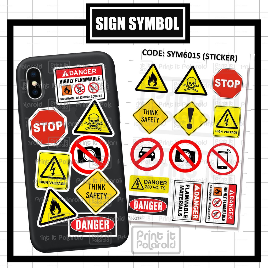 Symbol Sticker Sign Sticker Hp Smart Phone Laptop Pc Book Hype Beast Brand Danger Flammable Warning Shopee Singapore