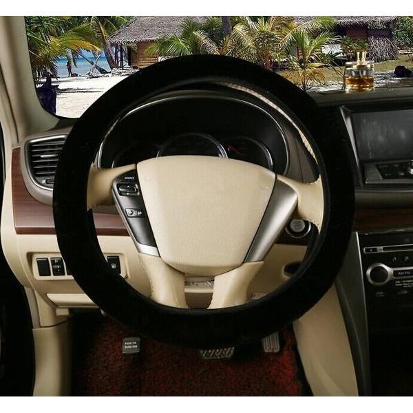 Luxury Plush Wool Car Steering Wheel Cover Winter Furry Fluffy Warm Soft