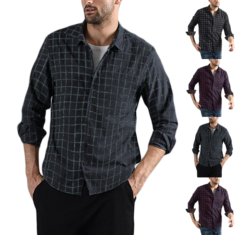 Long Sleeve Plaid in Size Small to 3XL Casual Button Down Shirt For Men