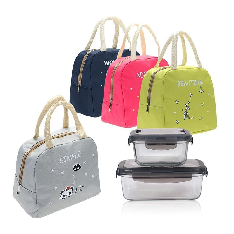 Portable Insulated Thermal Cooler Bento Lunch Box Carry Tote Picnic Storage Bag