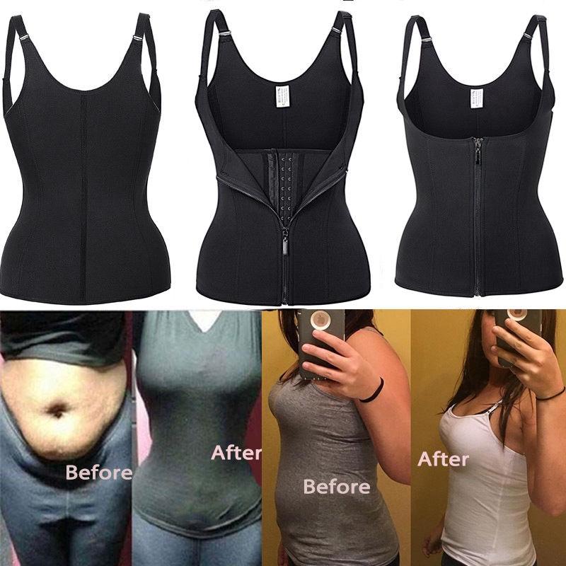 S-5XL Shaper Waist Trainer Tummy Fat Burner Plus Size Vest Shapewear Weight Loss