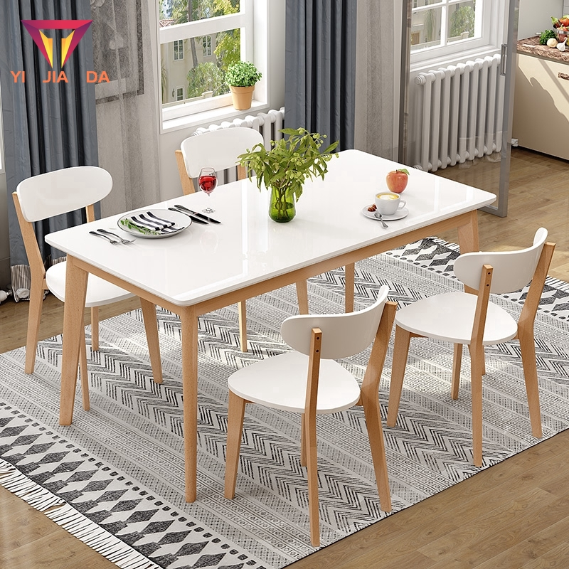 Nordic Dining Table Home 4 People 6 People Small Apartment Dining Table And Chair Combination Modern Simple Solid Wood Rectangular Dining Table Shopee Singapore