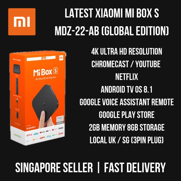 Xiaomi Mi Box S MDZ-22-AB (International) 2018 Set - 4K HDR Android TV 8 1