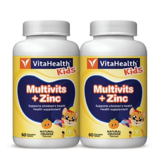 Vitahealth Kids Multivits + Zinc Orange 60's x 2 Kids Children Multi Vitamins