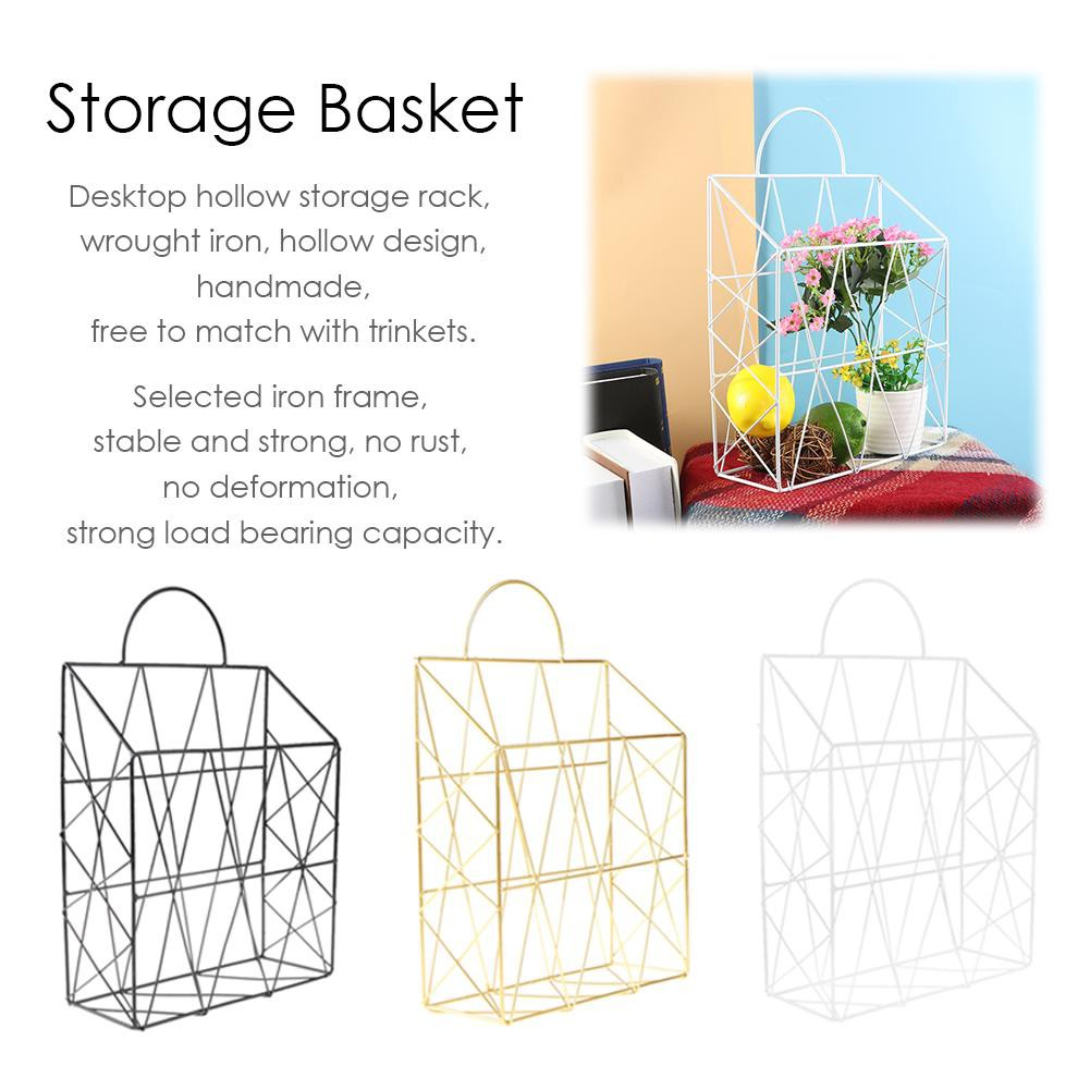 Simple Wrought Iron Tabletop Metal Newspaper And Debris Decoration Storage Basket Hangable Portable Rack Bathroom Shelves Bathroom Fixtures