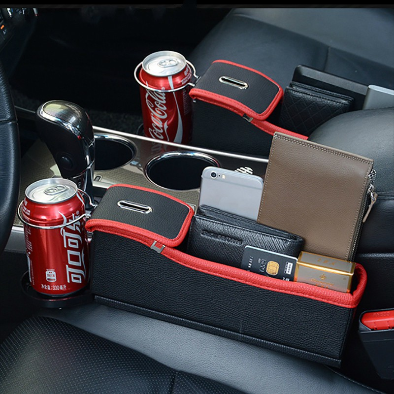 Red /& Black Car Seat Crevice Storage Box Cup Drink Holder Organizer Auto Gap Pocket Tidying For Phone Card Coin Case Accessories