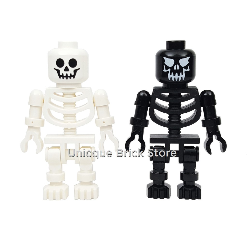 Lego Halloween Minifigures x 2 Man with Pumkin Head /& Black Skeleton