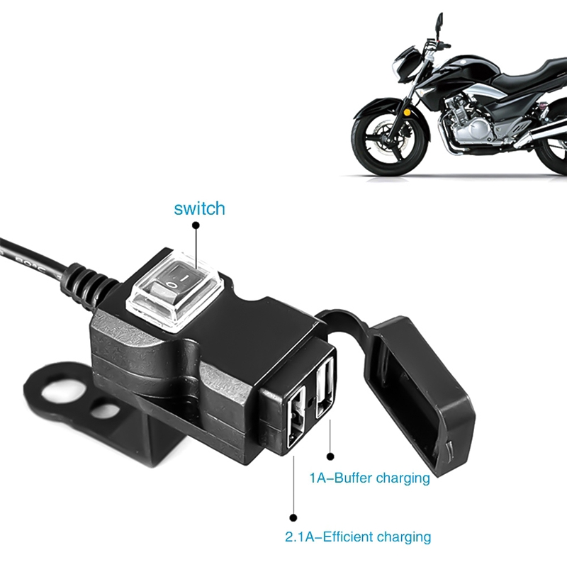 Dual USB Port 12V Waterproof Motorcycle Handlebar Charger 5V 1A/2 1A  Adapter Power Supply Socket for phone