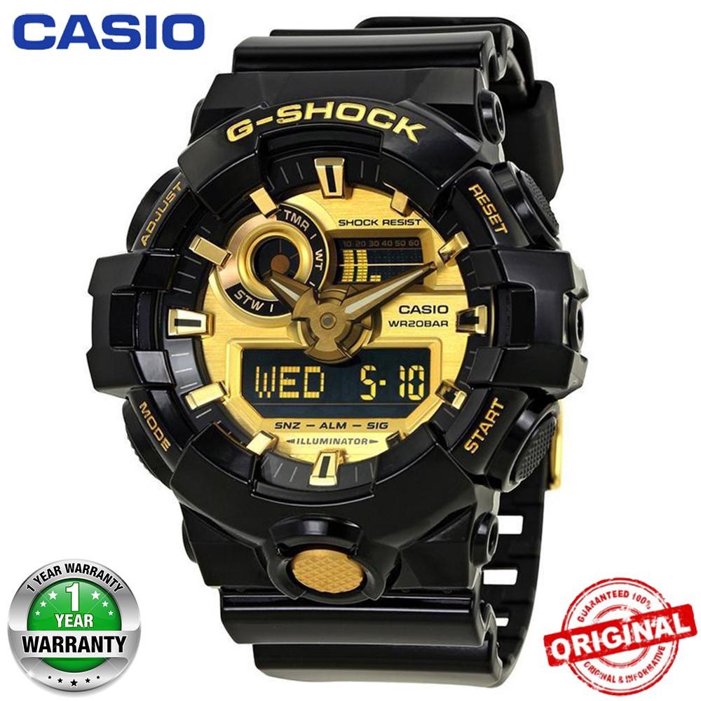 hot sale online 992dd 689f5 (Hot sale)Original Casio G-Shock GA-710 Black Gold Wrist Watch Men Sport  Watches